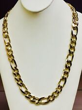 "18k solid gold handmade Figaro Curb link mens chain/necklace 30""  290 gr  14.5MM"
