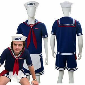Stranger Things Season 3 Steve Harrington Scoops Ahoy Cosplay Adult Kids Costume