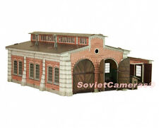 1/87 HO Scale Building Railroad Locomotive Depot Railway Cardboard Model Kit