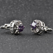 Silver Plated Purple Crystal Men's Cufflinks Shirt Cuff Links Wedding Party Gift