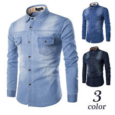 NEW Men's Denim Shirt Long Sleeve Slim Fit Cotton Casual Mens Jeans Tops Shirts