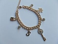 GOLD COLOUR CURB CHARM BRACELET padlock, 5, snowflake, key ADJUSTABLE NEW