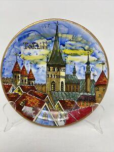 "Tallinn Estonia Souvenir Collector Wall Plate Handmade 7"""