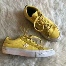 Converse One Star Boys Girls Youth Sz 2 Yellow Green Lace Up Low Top Sneakers