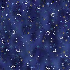 Celestial Sol Midnight Blue Crescents & Stars Cotton Fabric Yardage  G5