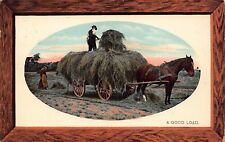 Vtg POSTCARD HAY WAGON HORSE FARMER Woman Man Field WATERFORD NY Antique Photo