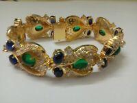 "Antique & Vintage Emerald,Sapphire & Diamond 18K Yellow Gold Over 7.5"" Bracelet"