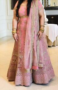 Heavy Bridal Pink Lengha Blouse Dupatta Plus Size Indian/Pakistani
