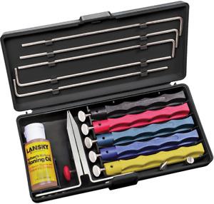 Lansky Deluxe Knife Sharpening System-Knife Sharpener 5 Hones Boxed LKCLX