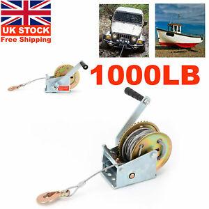 1000lbs Manual Hand Winch Boat Trailer Caravan 8m 19ft Strap Marine Puller