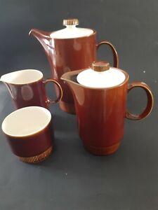 Poole Pottery England Coffee Tea Pot Set Vintage Brown 4 pc service