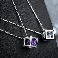 Zircon Jewelry Silver Plated Fashion Pendants Amethyst Necklace Purple Crystal