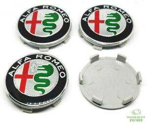 4 Tappi Coprimozzo Per ALFA ROMEO 147 156 166 MITO GT 50 mm Fregi Cerchi in Lega