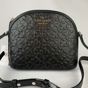 Kate Spade Hollie X-Large Dome Crossbody Black Embossed Leather WKRU6770 $249