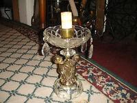 Vintage Cherub Angel Table Lamp Crystal Top Base Hanging Crystals Hollywood