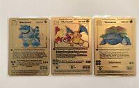 Pokemon Charizard, Venusaur, Blastoise Shadowless 1st Ed. Gold Metal Cards