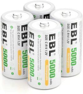 EBL Akku C 1,2V 5000mAh Baby C Batterien NI-MH wiederaufladbar Batterien Akkus