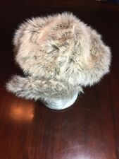 Women's White And Brown Fitted Faux Fur Hat/Cap. TL7
