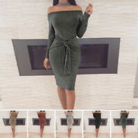 Hot Sexy Women Long Sleeve Bodycon Casual Party Evening Cocktail Slim Mini Dress