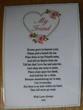 HANDMADE MESSAGE TO HEAVEN MEMORIAL CARD FOR FRIEND, IF ROSES GROW IN HEAVEN