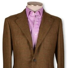 NWT BELVEST Brown-Red Windowpane Patch Pocket UNLINED British Tweed Sportcoat 40