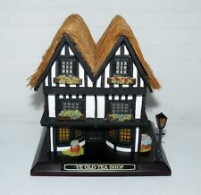 Mill WoodCrafters Hand Crafted Ye Old Tea Shop Music Wind Up Trinket Box Thatch