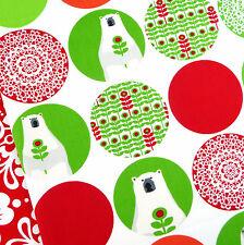 Robert Kaufman Brrr Holly green polar bear spot fabric / Christmas tree baubles