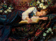 Art Oil painting Beautiful young girl sleeping with roses flowers book on bed