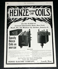 1906 OLD MAGAZINE PRINT AD, HEINZE MOTOR CAR COILS MAKE YOUR ENGINE RUN FASTER!
