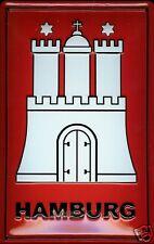 Hamburg Wappen Blechschild Schild 3D geprägt gewölbt Tin Sign 20 x 30 cm