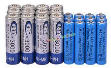 12 AA BTY 3000mAh + 12 AAA 1800mAh NiMH azul batería recargable RC Reloj MP3