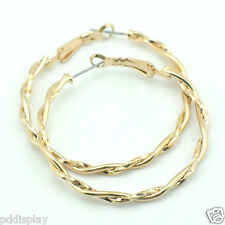 18k Gold GF hoop twisted solid earrings
