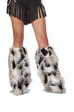 Adult Woman Costume Native American Fur Leg Warmer Black White One Size