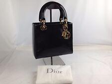Auth Christian Dior Trotter Lady Dior Handbag Black Enamel 6k030580S