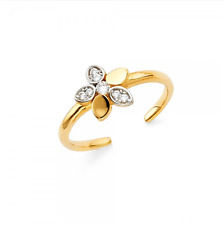 Toe Ring Adjustable -Cubic Foot Band Women 14K Solid Yellow White Gold Cz Flower