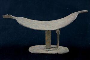 Art Africain - Ancien Petit Tabouret ou Appui Nuque d'Autel en Fer Lobi 21,5 Cms