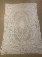"Vintage QUAKER LACE Ivory Tablecloth 40"" x 59"" AS IS"