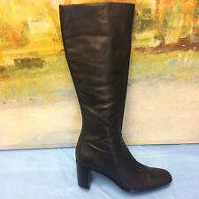 Worthington  Womens 8 M Black Leather Tall Boot,side Zip, 3'' heel