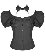 Punk Rave Womens Gothic Blouse Top + Collar Black Red Lace Vampire Short Sleeve