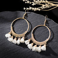 Women Bohemian Drop Flower Tassel Earrings Hook Women Round Bohemian Earrings
