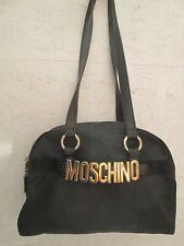 Authentique sac à main en toile et cuir noir MOSCHINO bag