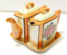 Vintage Lusterware Double Individual Teapot Set on Tray Lustreware Hot Water Pot