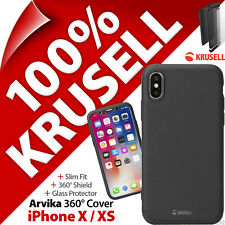Krusell Arvika Cover 360º Slim Protection Case 9H Glass Screen Apple iPhone X XS