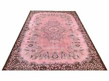 """9'2"""" x 5'8""""  Vintage pastel pink blue ushak overdyed rug carpet tapis teppich"""