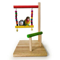 Parrot Wooden Perch Stand Parakeet Cockatiel Bird Cage Accessory Exercise Toy