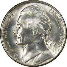 1945 S 5c Jefferson Wartime Silver Nickel US Coin BU Uncirculated Mint State
