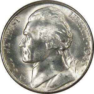 1945 S Jefferson Wartime Nickel BU Uncirculated Mint State 35% Silver 5c US Coin