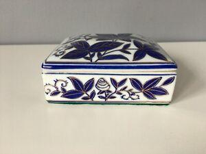 Porcelain Blue and White Rectangular Trinket Box