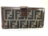 Authentic FENDI Zucca Pattern Bio-fold Wallet Purse Canvas Leather 58910727