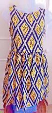 TOPSHOP Yellow & Black Skater Dress Size 8 XS
